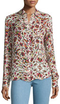 Haute Hippie Button-Down Open-Back Blouse, Print