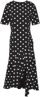 Oscar de la Renta Draped Polka-dot Wool-blend Crepe Midi Dress