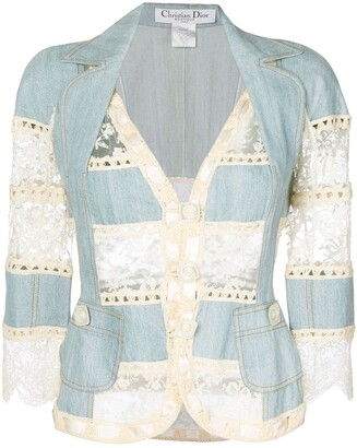 Christian Dior Pre-Owned lace and crochet insert jacket