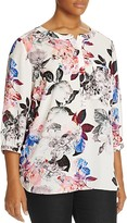 NYDJ Plus Floral Print Pleat Back Blouse