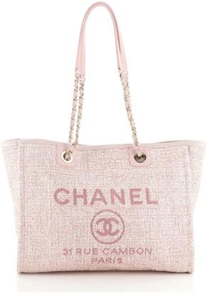 Chanel Deauville Tote Raffia with Glitter Detail Small