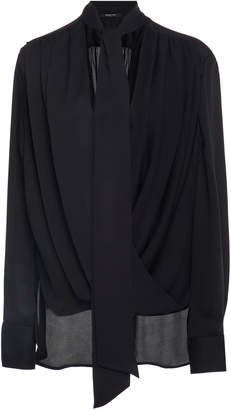 Derek Lam Oversized Draped Silk Blouse With Self Tie Neckline