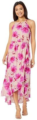 American Rose Novalie High Neck Floral Midi Dress (Blush/Fuchsia) Women's Dress