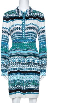 Diane von Furstenberg Blue Printed Stretch Silk Seanna Dress M