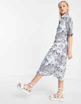 Thumbnail for your product : Monki Aloe organic cotton midi shirt dress in blue scenic print