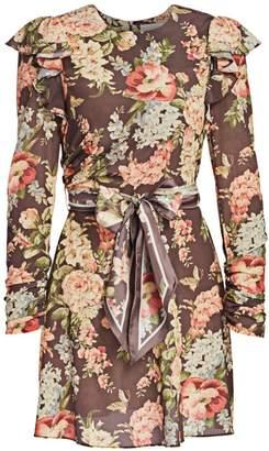 Zimmermann Eye Spy Floral Tie-Waist Mini Dress
