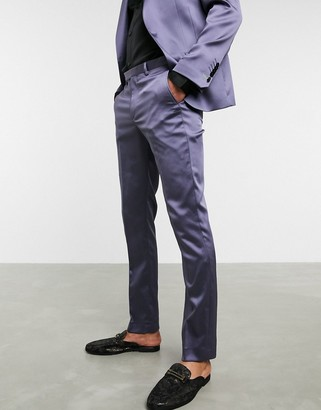 Twisted Tailor skinny satin suit pants in lilac