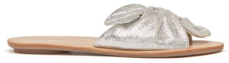 Loeffler Randall Phoebe Knotted Metallic Leather Slide Sandals