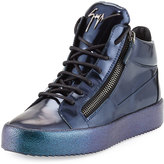 Giuseppe Zanotti Mid-Top Leather Sneaker with Ombre Sole, Blue