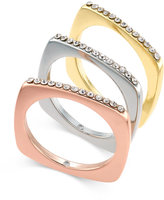 INC International Concepts Tri-Tone 3-Pc. Set Crystal Studded Stack Rings, Only at Macy's