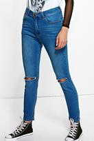 boohoo Jess Mid Rise 30' Leg Skinny Jeans mid blue