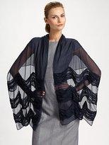 Armani Collezioni Ruched Stripe Silk Stole