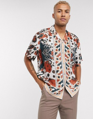 Asos Edition EDITION geometric print shirt in border print-Red