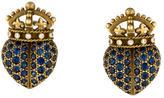 Kieselstein-Cord Barry Sapphire & Diamond Crown Heart Earrings