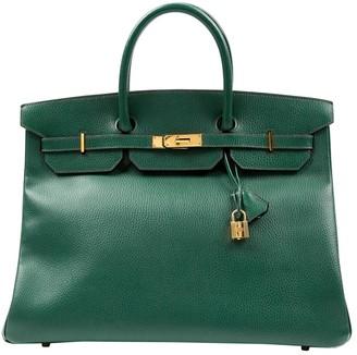 Hermes Birkin 40 Green Leather Handbags