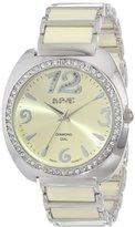 August Steiner Women's AS8066BG Swiss Quartz Diamond & Crystal Beige Ceramic Bracelet Watch