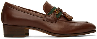 Gucci Brown Web Interlocking G Loafers