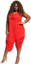 Allonly Women Sleveeless Piles Collar Plus Size Wide Leg Party Jumpsuit Rompers