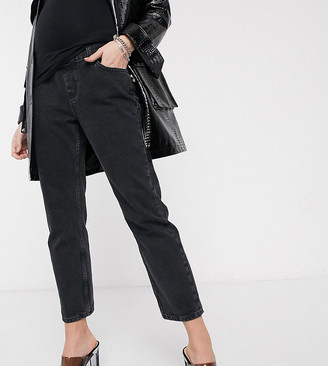 Topshop Maternity editor overbump jeans in worn black