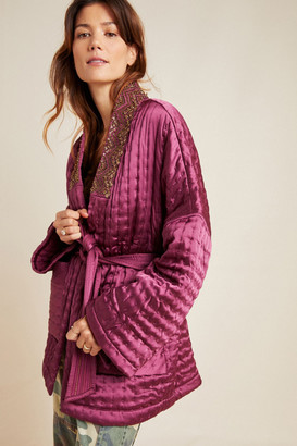 Anthropologie Phoebe Quilted Satin Jacket