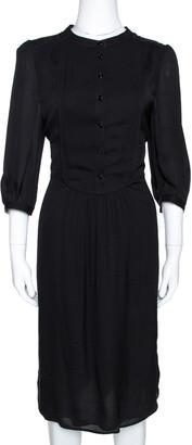 Burberry Black Silk Half Placket Midi Dress M
