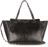 Valentino Rockstud Rolling cracked-leather tote