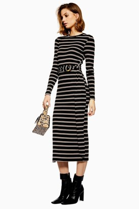 Topshop Womens Stripe Belted Midi Bodycon Dress - Black