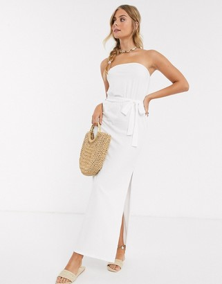 ASOS DESIGN bandeau maxi dress with belt in white