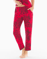 Soma Intimates Satin Trim Pajama Ankle Pant Fine Lace Festive Red
