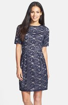 Donna Ricco Lace Overlay Shift Dress