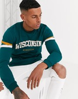Asos Design ASOS DESIGN long sleeve t-shirt with colour block sleeve panels and collegiate chest print-Green