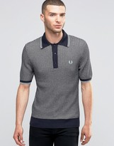 Fred Perry Knit Polo Shirt Two Color Retro Texture In Slim Fit