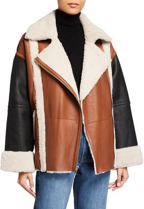Frame Mixed Shearling Zip-Front Jacket