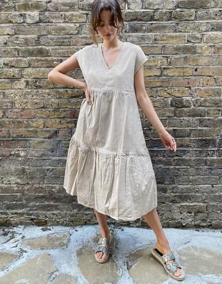 Noisy May linen midi smock dress in beige