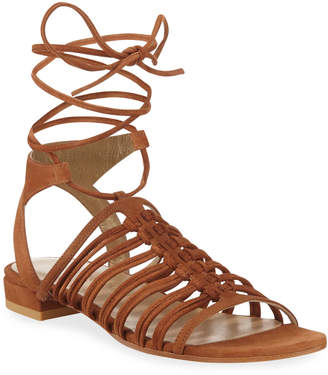 Stuart Weitzman Knotagain Lace-Up Flat Sandals