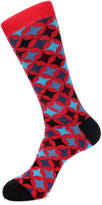 Jared Lang Diamond-Print Cotton-Blend Socks, Red Pattern