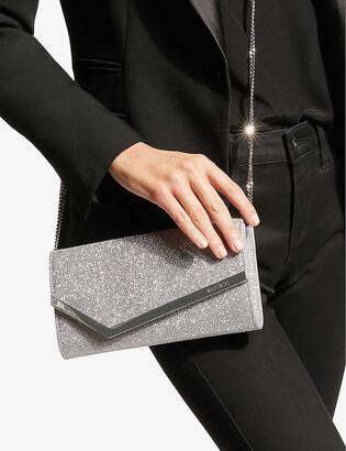 Jimmy Choo Emmie glittered leather mini clutch