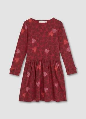 Mint Velvet Berry Heart Print Ruffle Dress