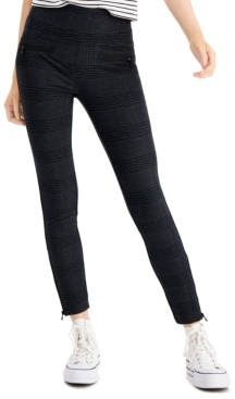 Rewash Juniors' High-Waist Plaid Zipper-Detail Ponte Leggings