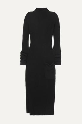 HOLZWEILER Noritt Ribbed-knit Maxi Dress - Black