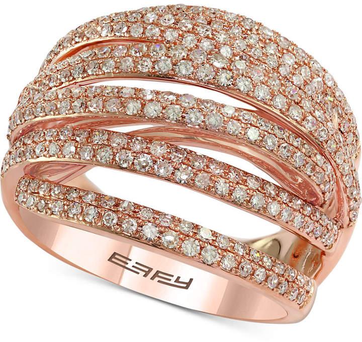 Effy Diamond Multi-Band Overlap Statement Ring (1 ct. t.w.) in 14k Rose Gold