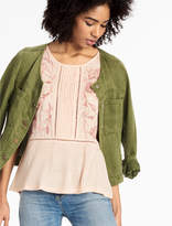 Lucky Brand Embroidered Mix Shell Top