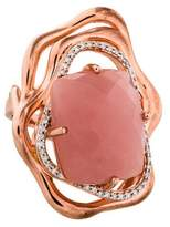 Catherine Malandrino Pink Quartz & Diamond Cocktail Ring