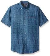 Van Heusen Men's Big and Tall Indigo Short Sleeve Button Down Print Shirt