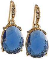 Carolee Gold-Tone Blue Stone Drop Earrings