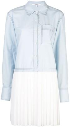 Derek Lam 10 Crosby Long Sleeve Mixed Media Cotton Poplin Shirt Dress with Pleated Hem