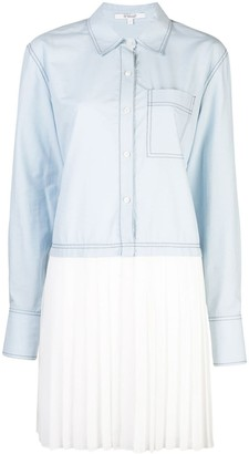 Derek Lam 10 Crosby Pleated Hem Shirt Dress
