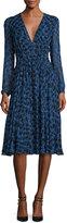 Derek Lam Long-Sleeve Python-Print Silk Dress, Blue Allium