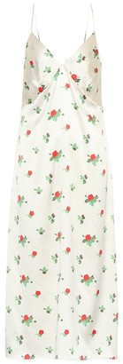 BERNADETTE June floral silk-satin slip dress