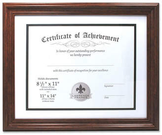 """Lawrence Frames Dual Use Walnut 11"""" x 14"""" Certificate Picture Frame with Double Bevel Cut Matting For Document - 8.5"""" x 11"""""""
